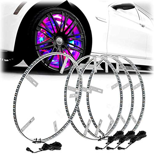"""LED Wheel Lights 15.5"""" 4 Wheel Set Color Chasing Moving Wireless by App for Cars Trucks"""