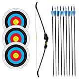 SinoArt Recurve Bow Adjustable Length 48.5'-50' Draw Weight 14-16 Lb Right and Left Hand with 9 Arrows and 3 Target Faces