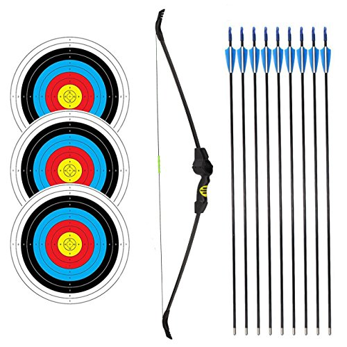 SinoArt Recurve Bow Adjustable Length 48.5''-50'' Draw Weight 14-16 Lb Right and Left Hand with 9 Arrows and 3 Target Faces by SinoArt (Image #6)