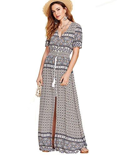 Milumia Women's Button Up Split Floral Print Flowy Party Maxi Dress Small Multicolor-2
