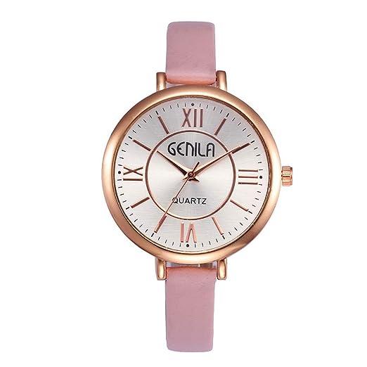 Relojes Pulsera Mujer,Pwtchenty Reloj de Cuarzo Correa de Cuero Reloj Las Mujeres del Rhinestone analógico Relojes de Pulsera Estilo Simple (una Talla, ...