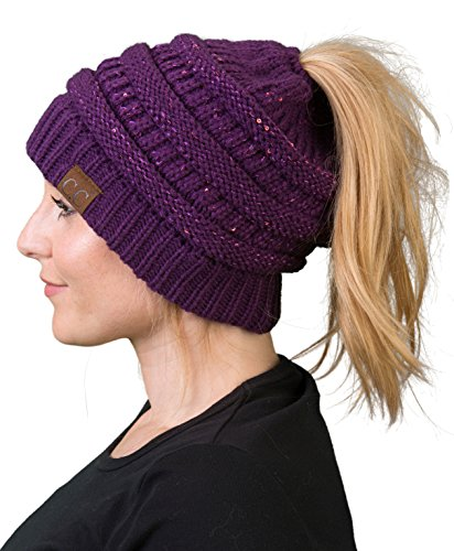 BT-6020a-73040 Solid Ribbed BeanieTail - Sequin Purple