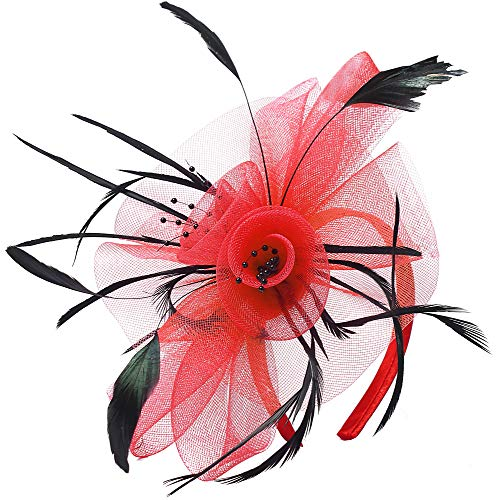 Fascinator Hats Flower Mesh Feathers Kentucky Derby Wedding Headband Tea Party Cocktail Headwear for Girls and Women (Red) ()