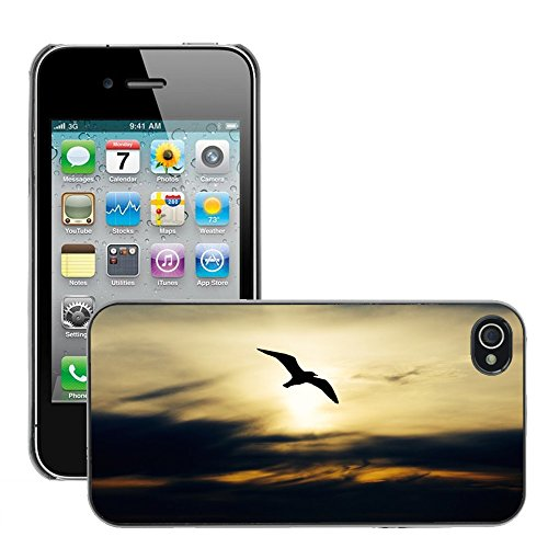 Stampato Modelli Hard plastica Custodie indietro Case Cover pelle protettiva Per // M00421602 Seabird Nature Oiseau Mouette animale // Apple iPhone 4 4S 4G