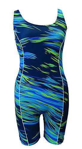 (Adoretex Women's Swim Unitard Legsuits One Piece Swimsuit (FU002) - Blue/Green -)