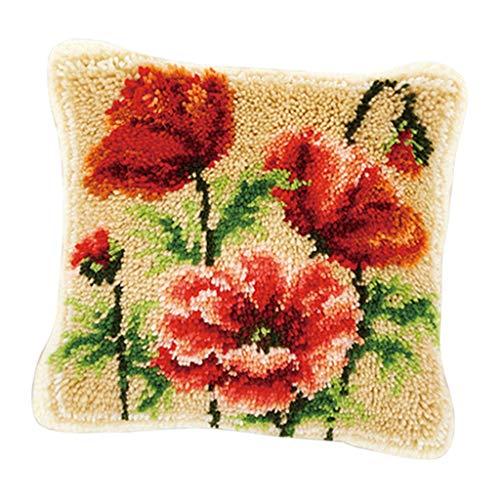 (SM SunniMix DIY Needles Crafts Latch Hook Kit with Basic Kit Animal/Flower Making Pillow Case - Rose)