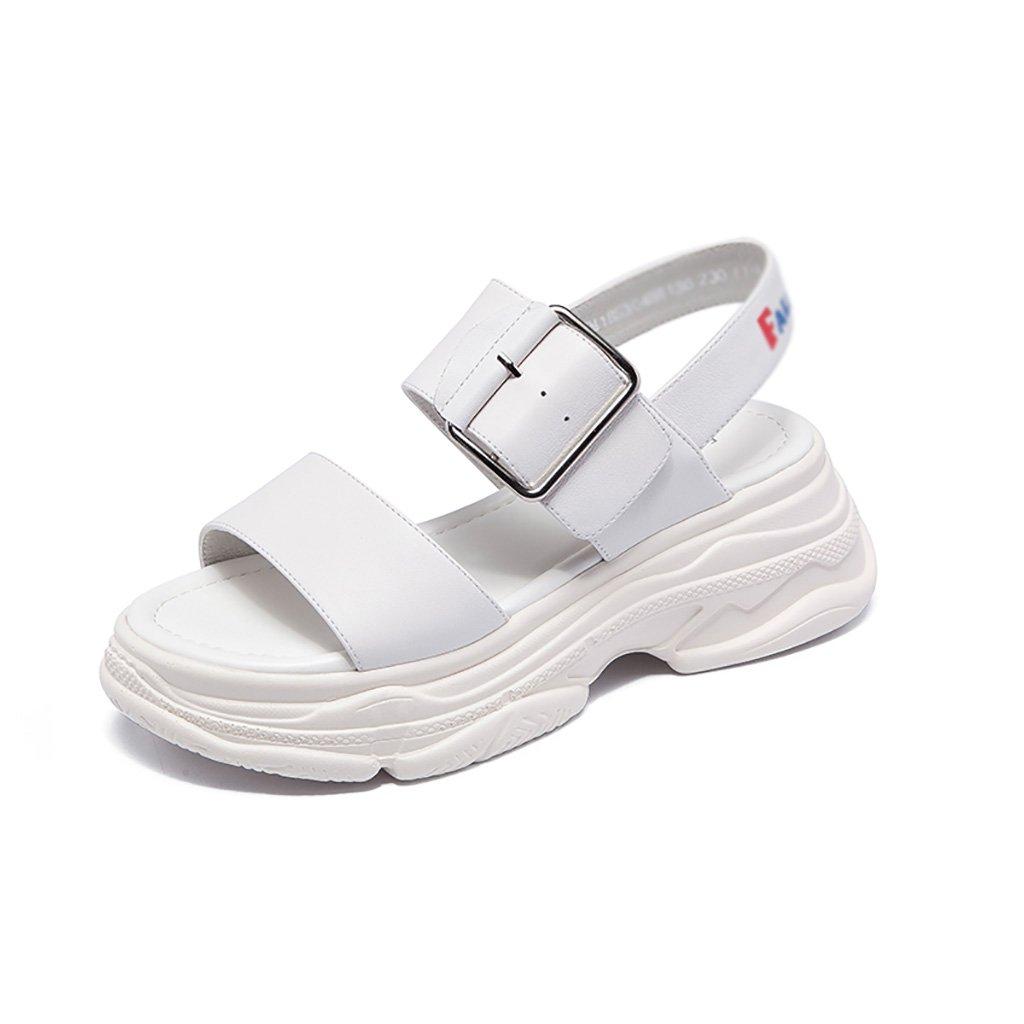 Sandales Blanc ZCJB (Couleur Muffin Épaisses Femme Summer Summer Fashion Mot Sauvage Buckle Open Toe Sports (Couleur : Blanc, Taille : 38) Blanc b84e4cb - epictionpvp.space