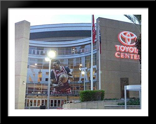 Toyota Center 36x28 Large Black Wood Framed Print Art - Home of the Houston - Galleria Houston