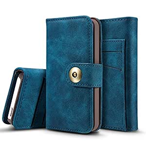 Wkae Retro Style Detachable Magnetic Leather Case Cover with Large Capity Card Cash Slots and Secure Rivet Buckle for iPhone 5 5s and SE ( Color : Blue )