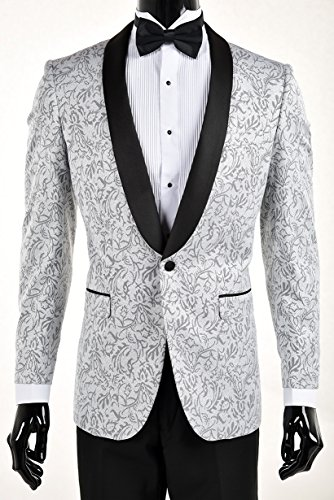 King Formal Wear Premium Slim Fit Tuxedo Blazers-Dinner Jackets (42 Long, Silver With Black)]()
