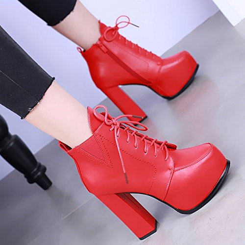 KHSKX-High Heeled Boots With Thick Waterproof Fashion Shoes European Winter Boots Lace Martin All-Match Boot Tide gules