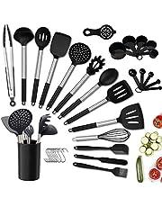 Köksredskapssats, 24 st Silikon Köksredskap Set med / Hållare för Kokkärl Utan Hål, Värmebeständigt Silikon Köksredskap Set, Turner Spatel Sked Tong Brush Visp Mätkoppar, BPA-Fri