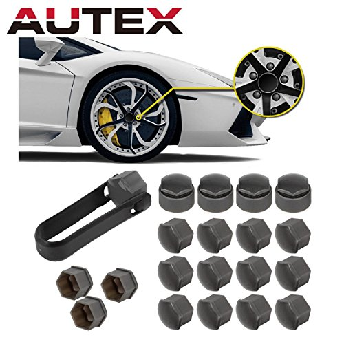 AUTEX Gray 16x Wheel Lug Nut Center Cover + 4x Locking Types Caps + Removal Tool Replacement for Toyota Avalon Camry Corolla Sienna Highlander Matrix