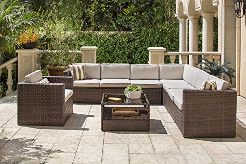 Solaura 7-Piece Outdoor Sectional Furniture Brown Wicker Conversation Sofa Set with Light Brown Cushion & Glass Coffee Table ()