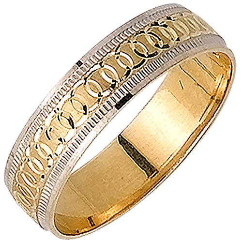14K Two Tone (White and Yellow) Gold Infinity Pattern Men's Wedding Band (5mm) Size-16.5c1