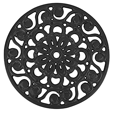 Decorative Cast Iron Metal Trivet by Trademark Innovations (Black)