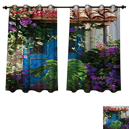 Anzhouqux Rustic Decorations Bedroom Thermal Blackout Curtains Charm of Old Door with Overgrown Exotic Flower Petals and Palm Leaves Scene Drapes for Living Room Multi W55 x L45 inch
