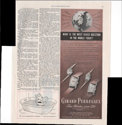 Girard Perregaux Fine Watches Since 1791 What Is The Most Asked Question In The World Today? 1948 Vintage Antique Advertisement