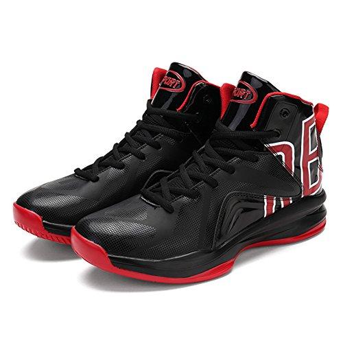 Leader Show Männer stilvolle High Top Basketball Schuh Mode Sport sportlich Turnschuhe Schwarz Rot