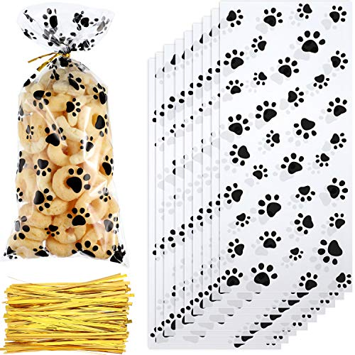 Homemade Dog Treats For Halloween (150 Pieces Clear Treat Bags Paw Print Cellophane Bags Pet Gift Bags with 150 Pieces Twist Ties for Party Supplies (Style)