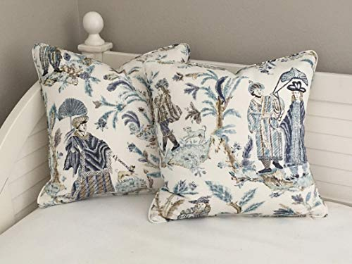 - alerie Sassoon Pair of Thibaut Royale Toile in Turquoise and Navy Designer Pillowcase Cushion Cover with Self Welt Square Euro and Sham Sizes