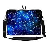 Meffort Inc 17 17.3 inch Neoprene Laptop Sleeve Bag Carrying Case with Hidden Handle and Adjustable Shoulder Strap - Galaxy Stars