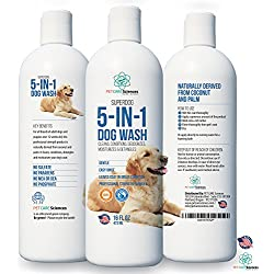 Professional Grade Sensitive Dog & Puppy Shampoo With Coconut Oil & Palm Oil. 5 in 1 Cleaner, Conditioner, Detangler, Deodoriser and Moisturiser. Naturally Derived Shampoo for Dogs. Made in USA.