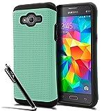 Galaxy Grand Prime (G530) Case, [The BlueJay Brand] Dual Layer Mesh Grip Pattern Case (Samsung Galaxy Grand Prime G530) + BlueJay Universal Stylus Pen, Pistachio