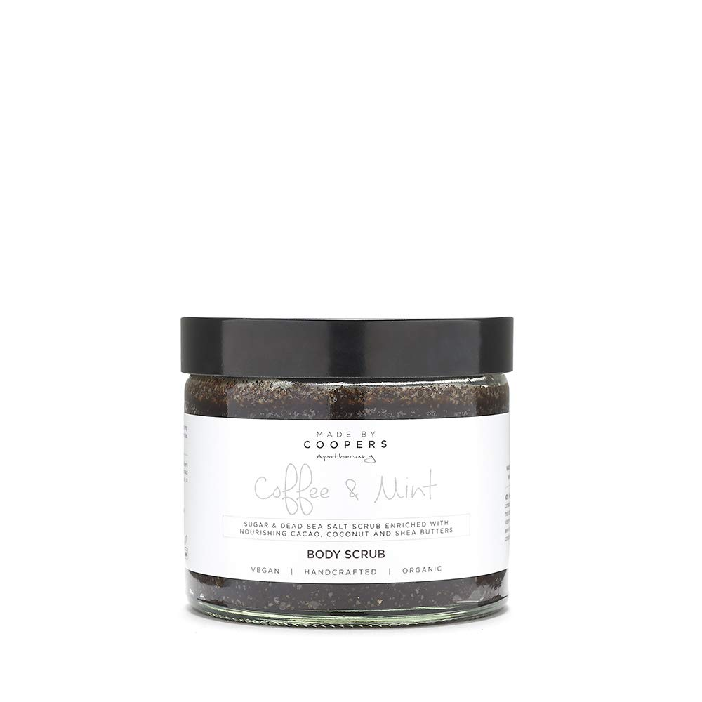 Made By Coopers Organic Arabica Coffee & Mint Body Scrub- 100% Natural Scrub Helps Reduce Cellulite, Stretch Marks, Acne, Eczema & varicose veins- Smooths skin, Improves Circulation, Nourishes Skin – Uplifting & Energising -250g Glass Jar