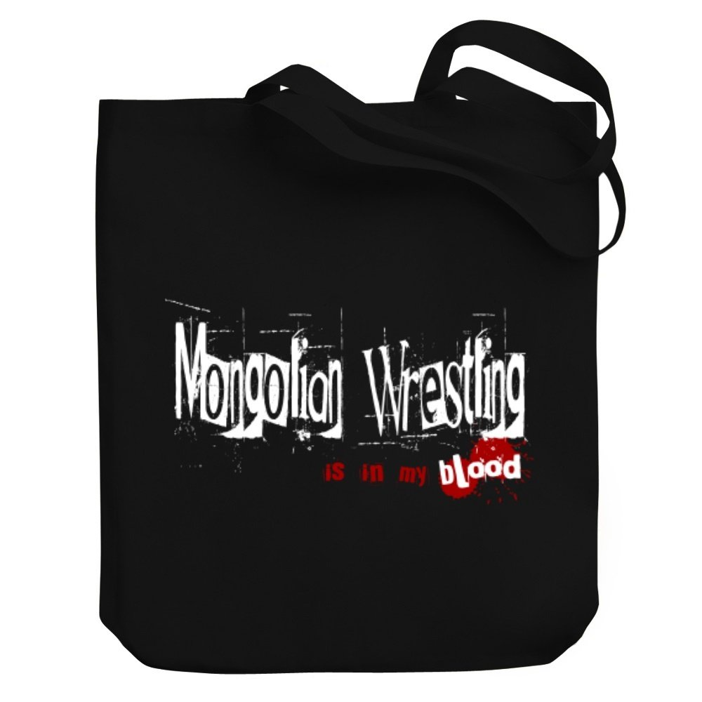 Teeburon Mongolian Wrestling IS IN MY BLOOD Canvas Tote Bag