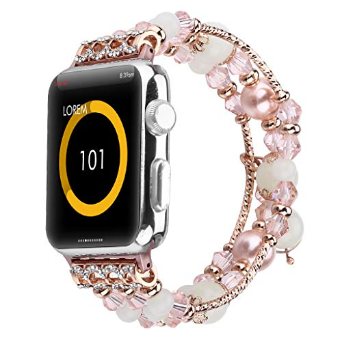 Bling Band Compatible for Apple Watch Band 42mm/44mm Series 4, Series 3, Series 2, Series 1,Adjustable Jewelry Wristband Handmade Night Luminous for Women/Girls (Pink, for Apple Watch Series)]()