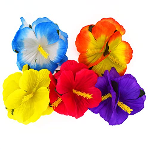 WJBB Hibiscus Flower Clips Hawaiian Themed Flower Barrettes Flower Hair Clips Hair Accessories, 12 Pieces, Assorted Color