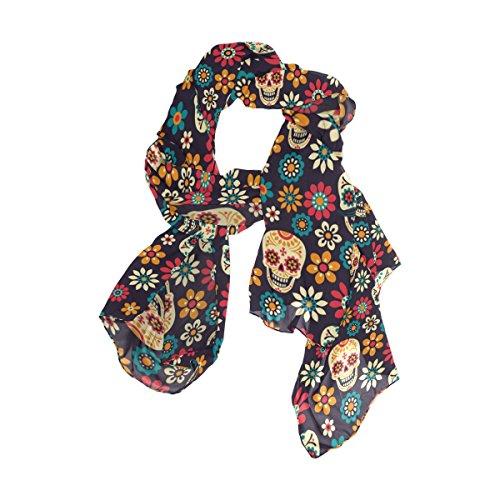 (Use4 Fashion Sugar Skull Floral Print Daisy Chiffon Long Scarf Shawl)