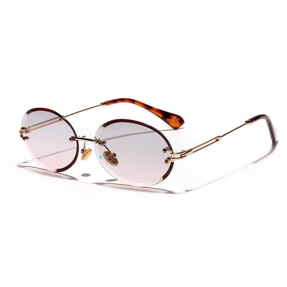 des lunettes Lovemorease 2019 r/étro Lunettes de Soleil Ovale Femmes Gris sans Cadre Gris Clair Marron lentille Lunettes de Soleil sans Monture pour Femmes uv400