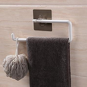 KIEYY Potente Ventosa Para Baño Rollo Porta Toallas Toallero Libre De Perforación Barra Simple Toallero Toallero Barra Para Toallas, Sin Clavos A: ...