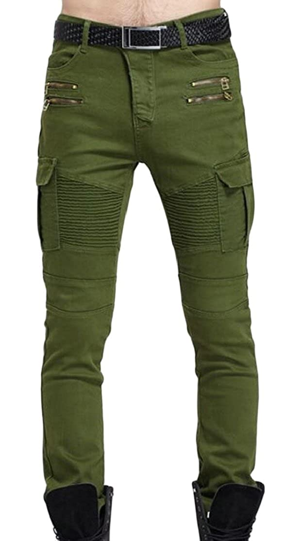 M/&S/&W Mens Classic Slim Fit Zipper Pleated Ripped Holes Destroyed Skinny Jeans