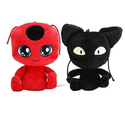 Juego de 2 Miraculous: Las Aventuras de Ladybug muñecos de Peluche de Peluche de 15 CM: Juguetes y juegos