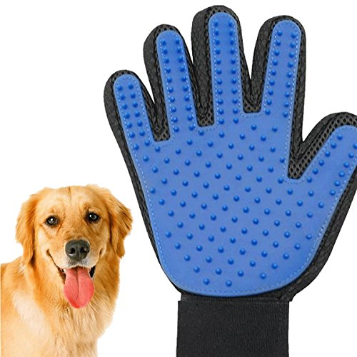 Aopet Pet Supplies Hair Remover Cat Dog Massage Bath Brush deshedding Gloves Cleaning Tools with Enhanced Five Finger Design Long rubber hand mitt& Short Fur
