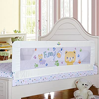 Baby Bed Rail Children Extra Long Bed Guard Toddler Safety Fold Down Bedrail Potable Stop Falling White Color