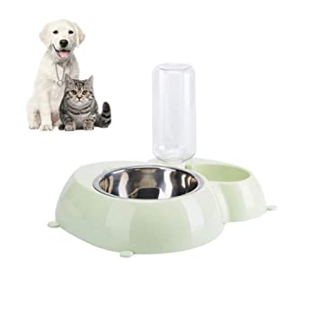 FONLAM Comedero Bebedero Automático para Perro Gato Dispensador Botella de Agua Comida Mascota Cachorro 2 en 1 (M, Verde): Amazon.es: Productos para ...