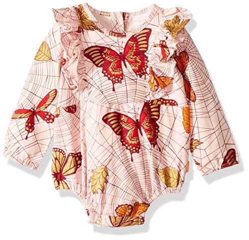 Masala Baby Baby Girls Organic Maddy Bodysuit Spiderweb Powder, Pink, 3-6M -