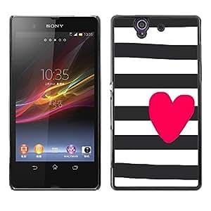 Be Good Phone Accessory // Dura Cáscara cubierta Protectora Caso Carcasa Funda de Protección para Sony Xperia Z L36H C6602 C6603 C6606 C6616 // Prison White Black Purple Lines