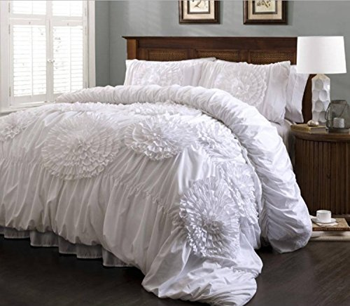 3 Piece Sophisticated Floral Design Comforter Set King Size, Featuring Solid Color Woven Textured Unique Shabby Chic Bedding, Stylish Contemporary French Country Girls Bedroom Decoration, White by SE