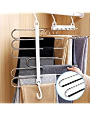 Pants Hangers 2 Pack Adjustable 6in 1 Multi-Layer Hanger Made of Plastic & AluPants Hangers,,Home Storage for Organizer,Folding Space Saver Storage for Trousers Scarf Tie Belt (White)