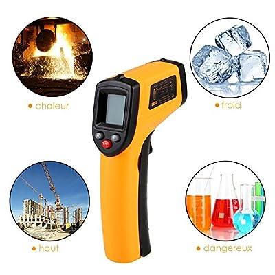 Kicode Non-contact Digital Laser Infrared Thermometer Temperature Gun(Yellow and Black)