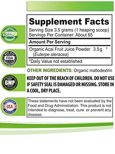 Organic antioxidant Powder - Organic ACAI Juice Powder - Pure acai Natural - 3 Cans 24 OZ (195 Servings) by Health Solution Prime (Image #1)