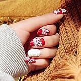 Yean Set of 24 Bridal False Nails Vintage Christmas Xmas Red Winter Snow Fake Nail Tips Nail strips with Glue and Adhesive Tab for women and girls