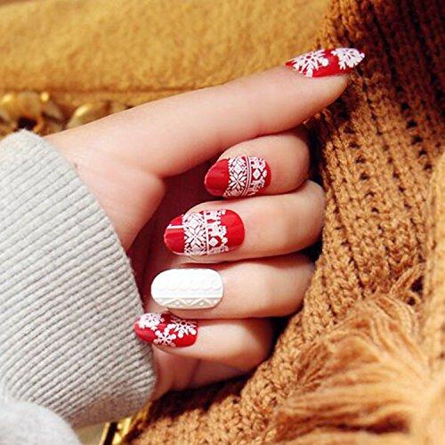Bridalvenus Set of 24 Bridal False Nails Vintage Christmas Xmas Red Winter Snow Fake Nail Tips Nail strips with Glue and Adhesive Tab for women and (Christmas Press On Nails)