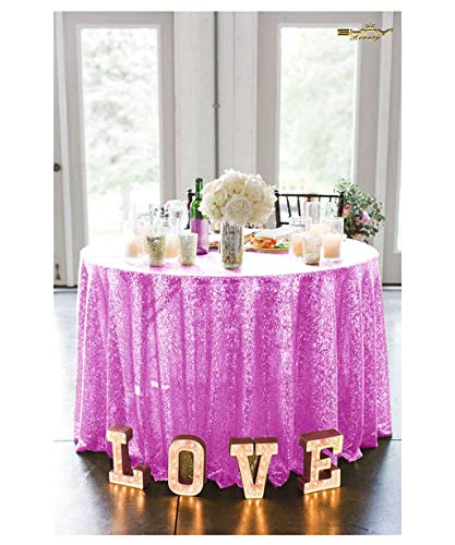 Round Sequin Tablecloth Wedding Sequin Table Cover Baby Shower Table Linens Party Table Overlay Farmhouse Table Cloth ~190417S (120'' Round, Lavender)