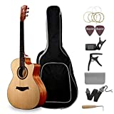 Emperial Acoustic Guitar Cutaway 41'' Beginner Adult Guitar Bundle Gig Bag Tuner Capo Picks Strap Kit